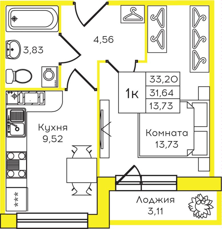Планировка Однокомнатная квартира площадью 33.2 кв.м в ЖК «Yolkki Village»