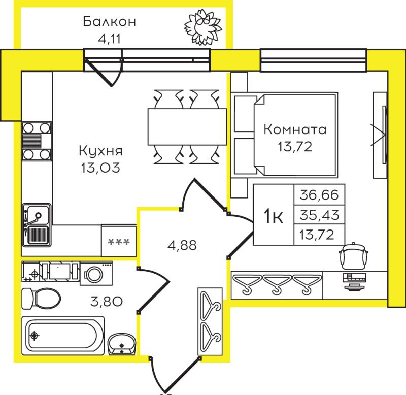 Планировка Однокомнатная квартира площадью 36.66 кв.м в ЖК «Yolkki Village»