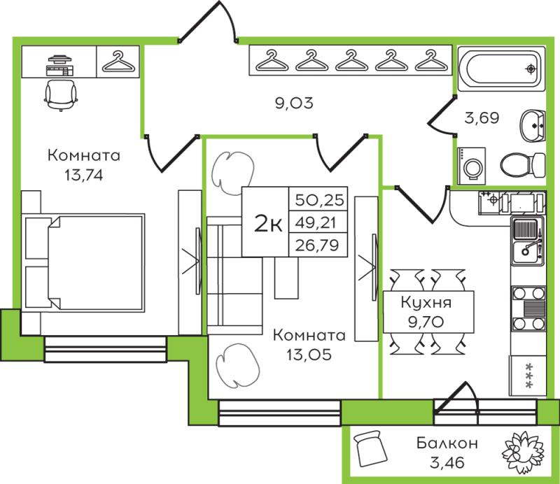 Планировка Двухкомнатная квартира площадью 50.25 кв.м в ЖК «Yolkki Village»