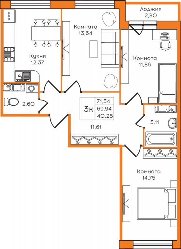 Планировка Трёхкомнатная квартира площадью 71.34 кв.м в ЖК «Yolkki Village»