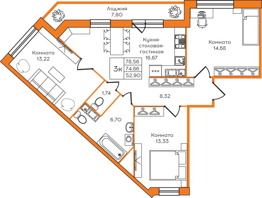 Планировка Четырёхкомнатная квартира площадью 78 кв.м в ЖК ««Yolkki Village»»