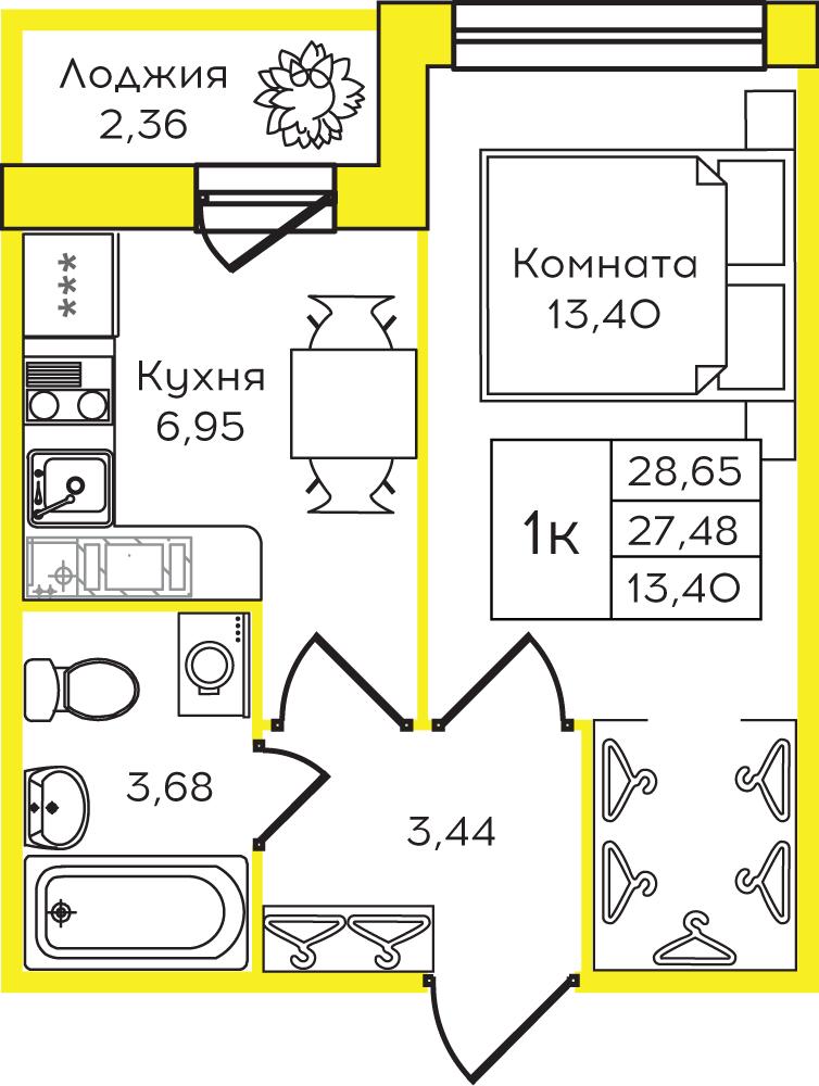 Планировка Однокомнатная квартира площадью 28 кв.м в ЖК ««Yolkki Village»»