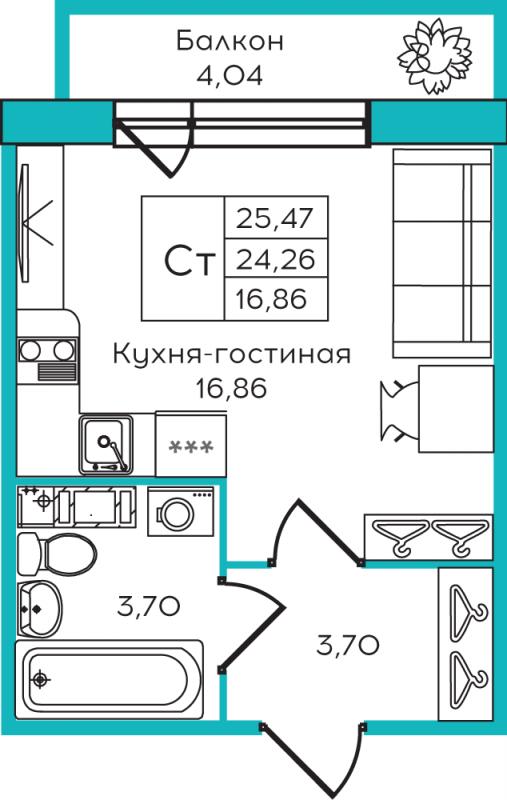 Планировка Студия площадью 25.47 кв.м в ЖК «Yolkki Village»