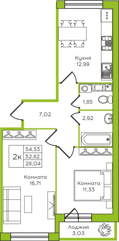 Планировка Двухкомнатная квартира площадью 37.65 кв.м в ЖК «Yolkki Village»