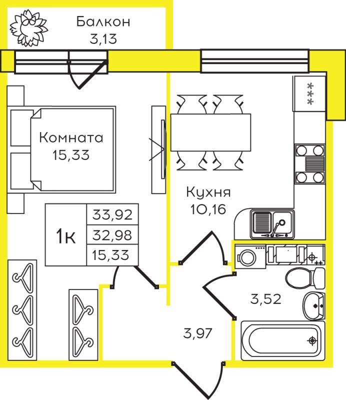 Планировка Однокомнатная квартира площадью 33.92 кв.м в ЖК «Yolkki Village»