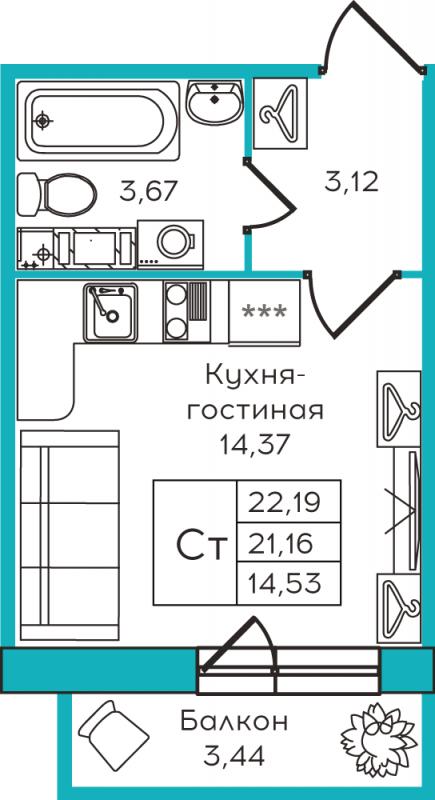 Планировка Студия площадью 22.19 кв.м в ЖК «Yolkki Village»