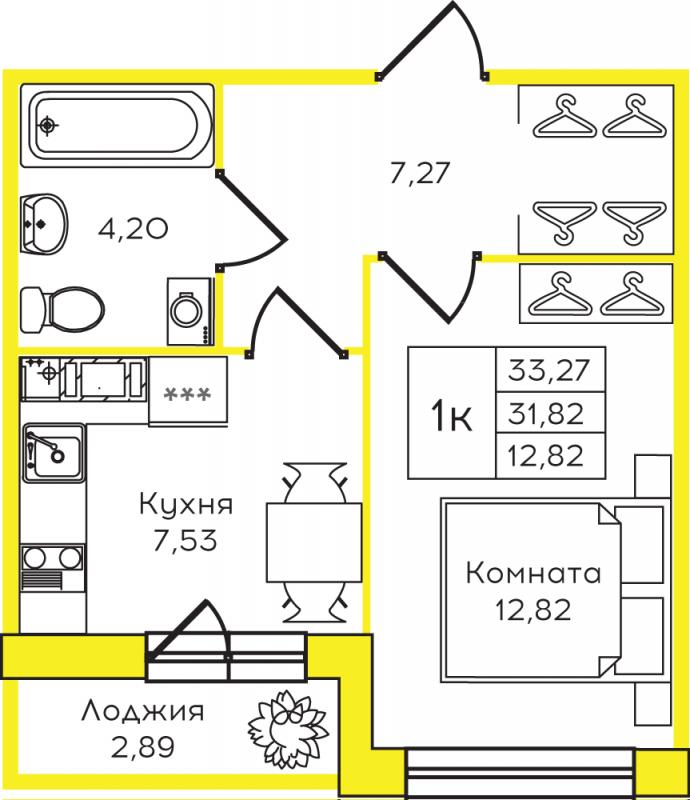 Планировка Однокомнатная квартира площадью 33.27 кв.м в ЖК «Yolkki Village»