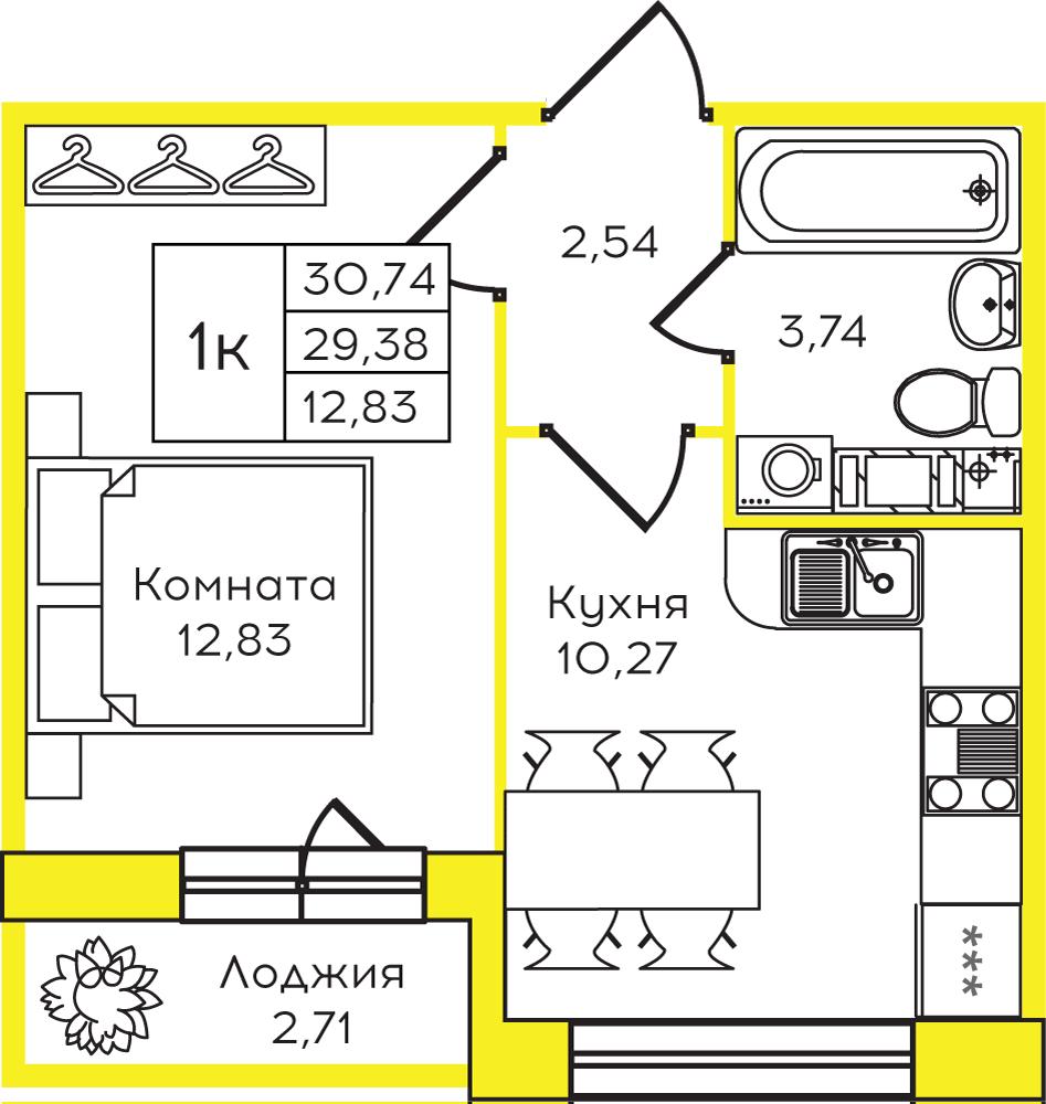 Планировка Однокомнатная квартира площадью 30 кв.м в ЖК ««Yolkki Village»»