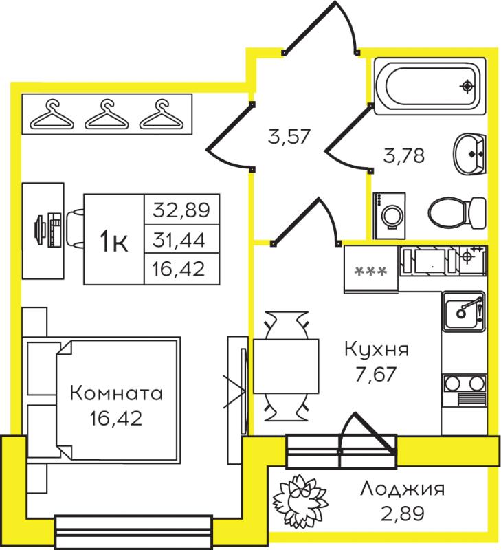 Планировка Однокомнатная квартира площадью 32.89 кв.м в ЖК «Yolkki Village»