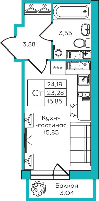 Планировка Студия площадью 24.19 кв.м в ЖК «Yolkki Village»